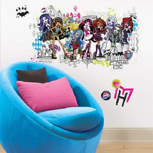 MONSTER-HIGH-GROUP-of-Ghouls-wall-sticker-MURAL-13-decal-Abbey-Draculaura-more