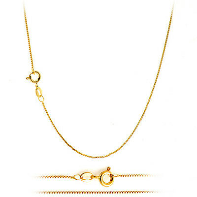 Jewellery - 18K Gold Plated Classic Italian Thin Box Chain Necklace for Pendants - ALL SIZES
