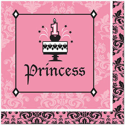 1st BIRTHDAY Royal Princess LUNCH NAPKINS (18) ~ First Party Supplies Serviettes ()