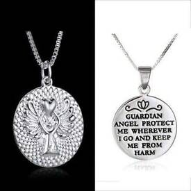 """GUARDIAN ANGEL PROTECT ME' ENGRAVED GOOD LUCK NECKLACE 18"""""""