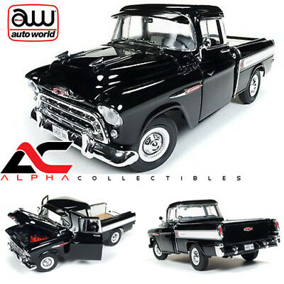 AUTOWORLD AMM1145 1:18 1957 CHEVROLET CAMEO 3124 PICKUP TRUCK BLACK (1957 Chevy Cameo Truck)