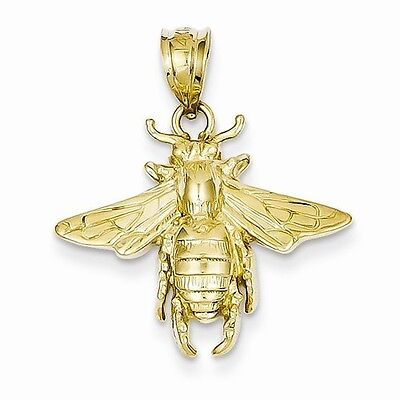 14K YELLOW GOLD SOLID POLISHED OPEN BACKED BEE CHARM PENDANT  0.95 INCH  2 GM 2 Polished Gold Charm