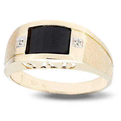 (Gent's Barrel Shaped Onyx and Diamond Accent Dad's Ring in Solid 10k Gold)