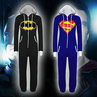Unisex Damen Herren Jumpsuit Overall Schlafanzug Trainingsanzug Batman Superman