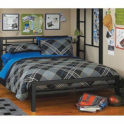 Metal Full Size Bed Frame Platform Bedroom Furniture Headboard Kids Black NEW