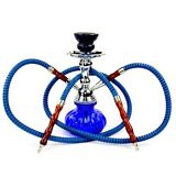 2 Hose Glass Water Pipe Vase Tobacco Shisha Nargile Smoking Hookah Bong Set