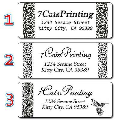 30 Black White Return Address Labels Personalized Print Classy Elegant Classic