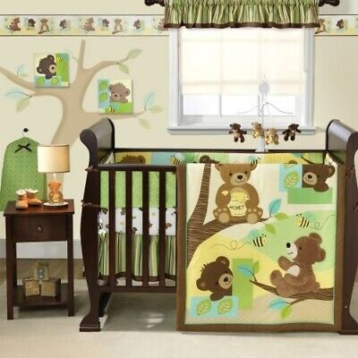 Bedtime Originals Neutral Baby Crib Bedding Set. Honey Bears, Green, Brown, 9pc.