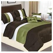 Queen Comforter Set Brown Green