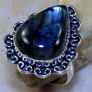 NEW  Labradorite Sterling Silver Ring Size 8.75