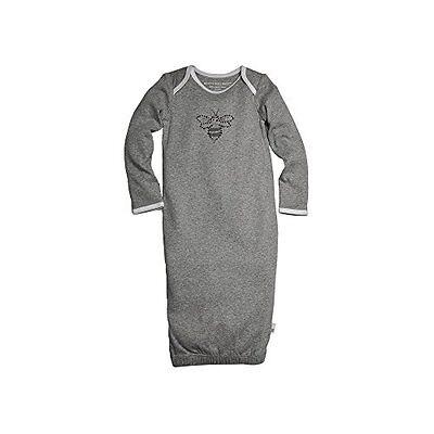 Burt's Bees Baby Boy Gown/Sleepsack ~ Gray & White ~ 0-9 Mon