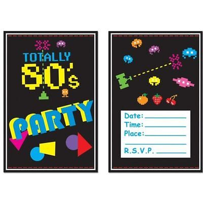 Pack of 8 Totally 80's Arcade Video Games Invitations - Party Invites 1980's - 80s Party Games