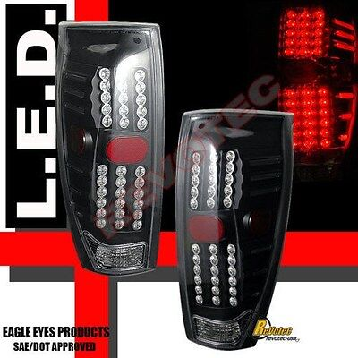 02-06 Chevy Avalanche 1500 2500 Pickup Black LED Tail Lights 1 Pair