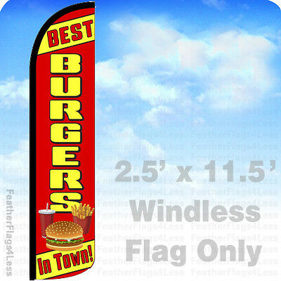 Best Burgers In Town - Windless Swooper Flag Feather Banner Sign 2.5x11.5 - Rz