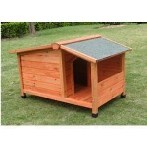 Cuccia cane in legno con terrazza veranda coperta e tetto - Cuccia per gatti da esterno fai da te ...