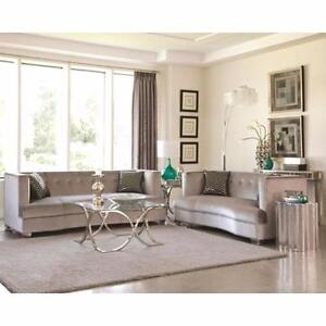 Coaster (505881) Caldwell Silver Velvet 4 Piece Living Room Set - Ships anywhere in Canada!!!