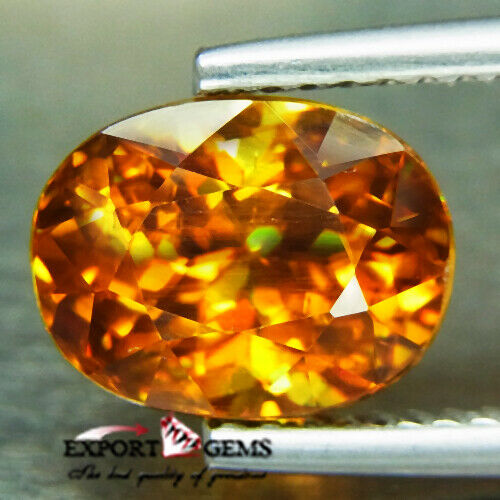 UNHEATED 3.51CT NATURAL FLASH RED YELLOW OVAL SPHENE