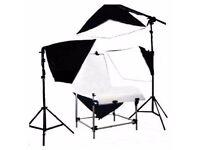 Photography Studio 60x130cm Black & White Two PVC Panels Shooting Table & Four Soft box Lighting Kit