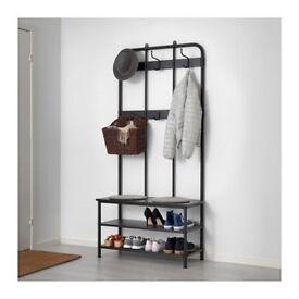 Brand new black coat rack with shoe storage