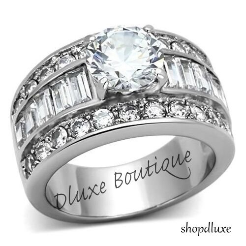STUNNING ROUND CUT CZ STAINLESS STEEL WIDE BAND ENGAGEMENT RING WOMEN