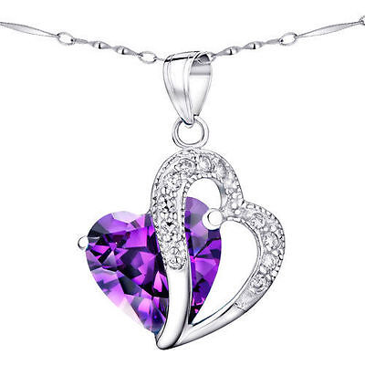 """5.66 Ct Amethyst Heart Cut Gemstone Pendant Necklace Sterling Silver 18"""" Chain"""