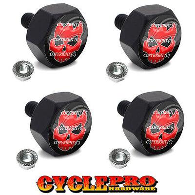4 Black Billet Hex License Plate Frame Tag Bolts RED CRACKED SKULL - 113
