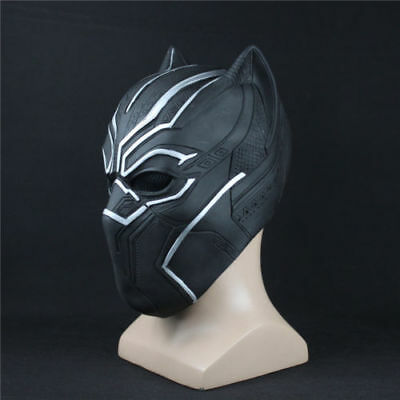 Latex Superhero Costume (US SHIP Black Panther Mask Costume Role Cosplay Avengers Superhero Latex)