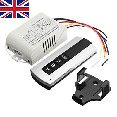 220V 3-Way ON/OFF Manual Wireless Remote Control Switch Receiver With Base For L