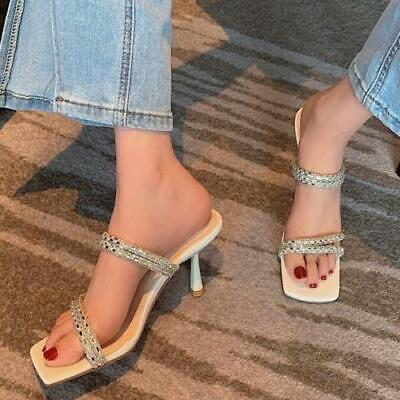 как выглядит Womens Trendy Summer Glitter Diamante Slippers Kitten Mid Heels Sandals Shoes фото