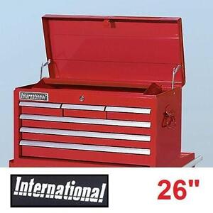 "NEW INTERNATIONAL 26"" TOP CHEST RED 6 DRAWERS LOCKABLE TOP TOOL CHEST TOOLBOX TOOLBOXES CHESTS STORAGE BOXES 109825542"