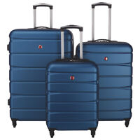 *SWISS GEAR* WALEN 3Pc Expandable SPINNER LUGGAGE - BLUE