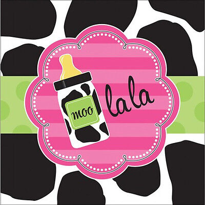 BABY SHOWER Cow Print Girl LUNCH NAPKINS (16) ~ Party Supplies Serviettes Pink (Cow Print Party Supplies)