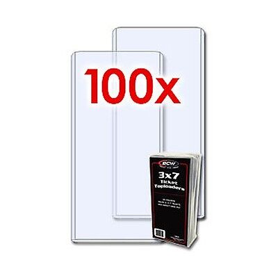 "100 BCW RIGID TOPLOADERS 3"" X 7""  TOPLOAD CURRENCY, TICKET, PHOTO, PRINT HOLDERS"