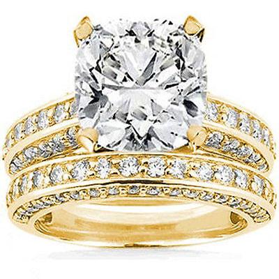 GIA 4.01 ct Cushion Cut & 1.25 ct Round Diamond 14k Yellow Gold Ring & Band Set