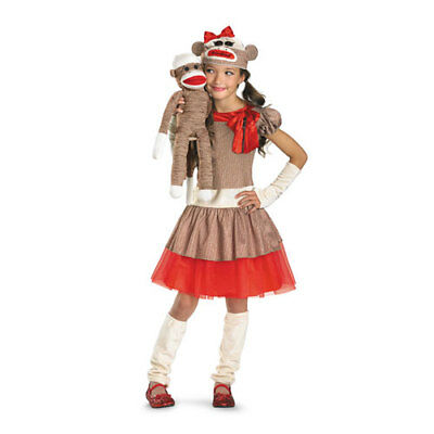Girls Sock Monkey Animal Halloween Costume sz Small 4-6X (Monkey Costumes For Girls)