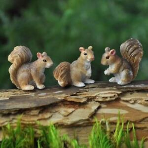 Dollhouse Miniature Fairy Garden Set of 3 Squirrels 17266