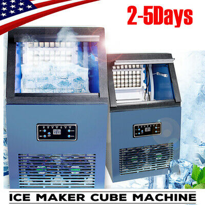 Auto Commercial Ice Maker Cube Machine 50kg Stainless Steel Bar 230w 100lbs24h