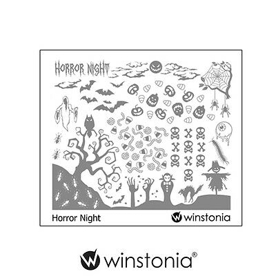 Winstonia Halloween Nail Art Stamping Image Plate HORROR NIGHT Scary Spooky Cute - Scary Halloween Nails