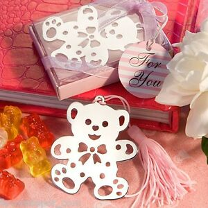 pink teddy bear bookmarks birthday party favor girl baby shower favors