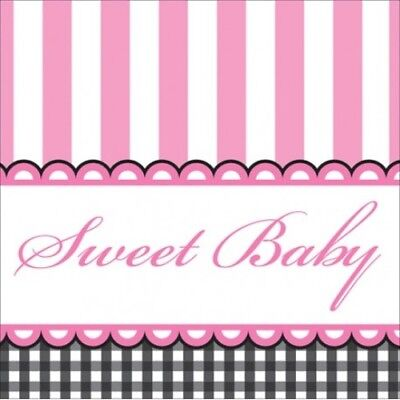 Pink Baby Shower Girl Beverage Napkins Pink Black 16 ct Decoration Party Supply - Pink And Black Baby Shower Decorations
