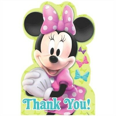 Minnie Mouse Pink Thank You Post Cards Party Decoration Supply  - Minnie Mouse Thank You Cards