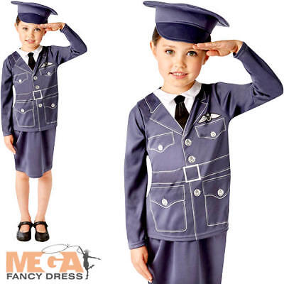 WRAF Girls Fancy Dress RAF Pilot Uniform Occupation WW2 Kids Childs 1940 Costume](Occupation Fancy Dress)