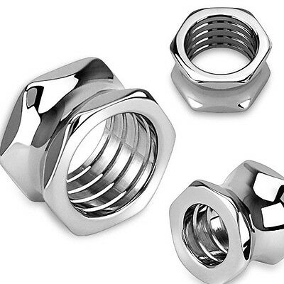 - PAIR Hexagon Bolt Tunnels Screw 316L Surgical Steel Double Flare Plugs Gauges
