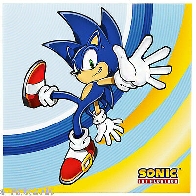 SONIC THE HEDGEHOG LUNCH NAPKINS (16) ~ Birthday Party Supplies Large Video Game