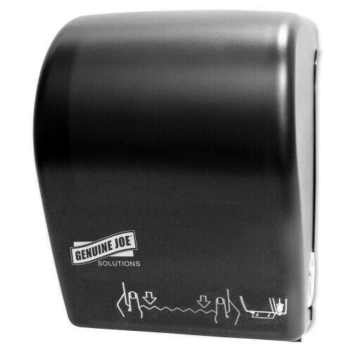 Genuine Joe Solutions Touchless Hardwound Towel Dispenser, Black (GJO99706)