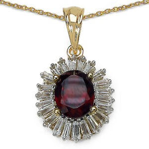 Garnet and White Topaz Pendant in Sterling Silver 3.82 ct