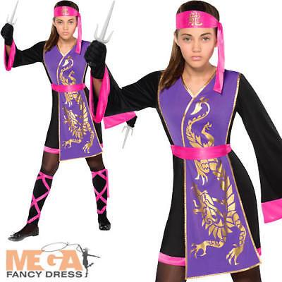 Samurai Girl Kostüm (Samurai Girls Fancy Dress National Japanese Ninja Assassin Kids Childs Costume )