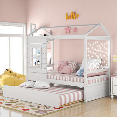 Fun House Bed with Storage Drawers or Trundle Twin Size Wood Platform Bed Frame