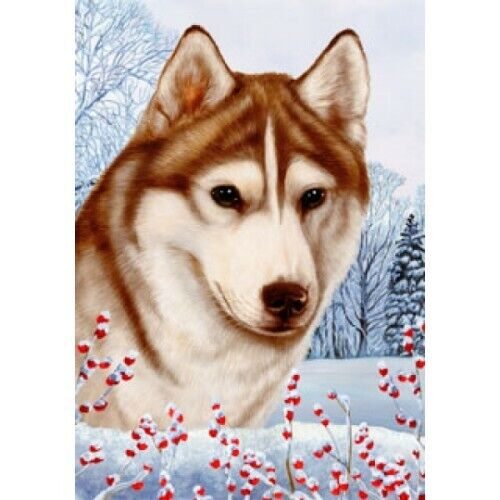 Winter Garden Flag - Red and White Siberian Husky 152301