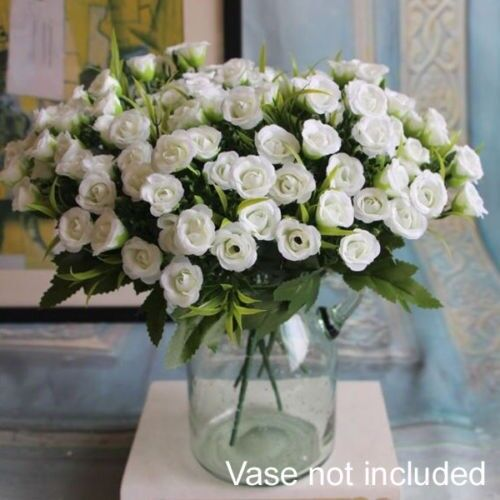 3 x bunches bouquet artificial white flower fake mini rose wedding 3 x bunches bouquet artificial white flower fake mini rose wedding valentine home decor party mightylinksfo